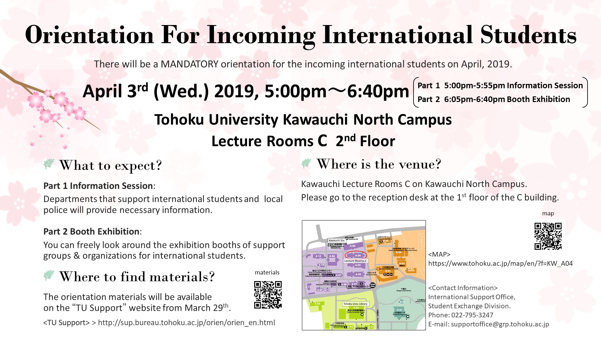 Apr  3 (Wed) Orientation for Incoming International Students